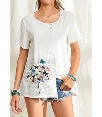camicetta in cotone casual con spacco o scollo con stampa lettera albero farfalla