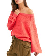 women's free people found my friend boucle pullover, size large - coral