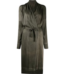 masnada belted wrap dress - green