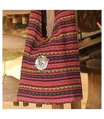 cotton shoulder bag, 'antique north' (thailand)