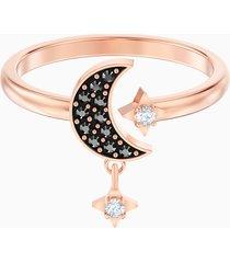anello con motivo swarovski symbolic moon, nero, placcato oro rosa