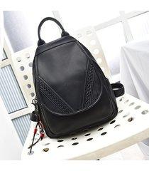 mochila de mujer, mochila de cuero tejida para mujer-negro