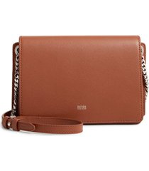 boss taylor leather crossbody bag - brown