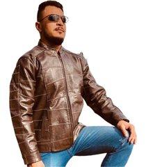 jaqueta masculina esportiva 100% couro - kesck couro marrom