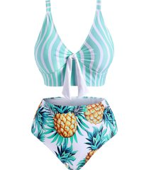 plus size striped pineapple tied high waisted tankini swimwear