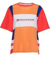mesh tee logo t-shirts & tops short-sleeved orange tommy sport