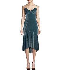 theia women's high-low velvet slip dress - blue stone - size 0