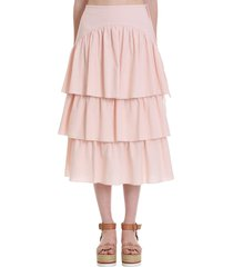 see by chloé skirt in rose-pink cotton