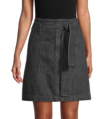 rag & bone women's super high-rise belted darted denim skirt - washed black - size 27 (4)
