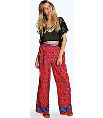 hilary floral border wide leg woven trousers