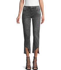 frame denim women's distressed cropped jeans - silver streak - size 25 (2)