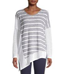 splendid women's asymmetric striped knit top - white - size s