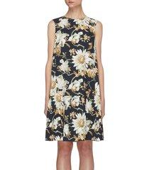 daisy print a-line mini dress