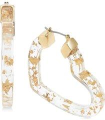 "inc gold-tone glitter-heart medium hoop earrings, 2"", created for macy's"
