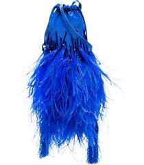 the attico mini beaded pouch bag - blue