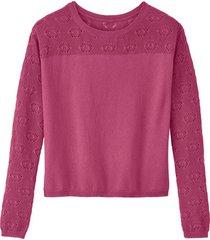 ajour-pullover uit biologisch katoen, roze 44/46