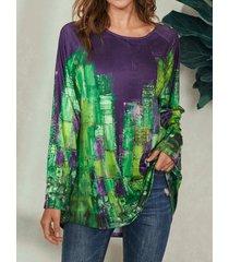 camicetta casual a maniche lunghe con scollo a o multicolore a blocchi di colore