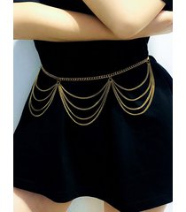 multilayered wavy metal waist chain