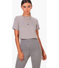 petite basic cropped t-shirt, grey marl