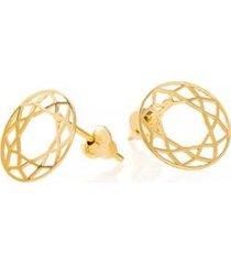 brinco de ouro joiasgold 18k circulo vazada