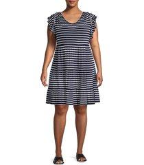 max studio women's plus striped mini dress - navy ivory - size 1x (14-16)