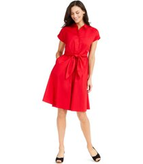 charter club cotton tie-waist fit & flare dress, created for macy's