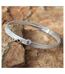 amethyst and garnet bangle bracelets, 'spring color' (set of 3) (thailand)
