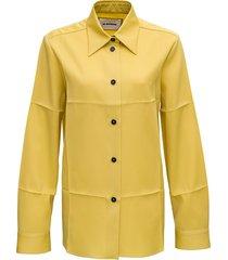 jil sander mustard-colored wool shirt with pleats