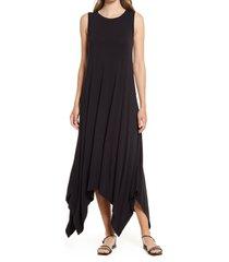women's nordstrom drapey sleeveless midi dress, size x-large - black