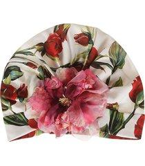 dolce & gabbana flower applique rose printed beanie