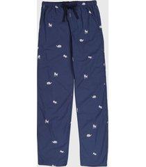 pantalón pijama azul oscuro-blanco gap