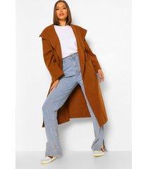 oversized nepwollen jas met grote kraag, camel