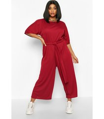 plus rib short sleeve tie waist culotte jumpsuit, berry