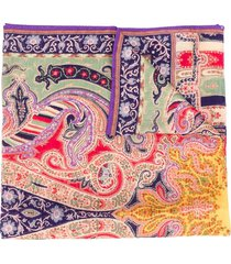 etro paisley knit long scarf - green