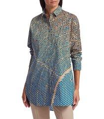 akris punto women's solar-print poplin tunic blouse - sand lake - size 2