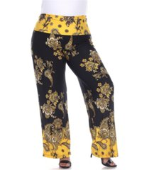 white mark women's plus size floral paisley printed palazzo pants