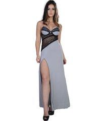 camisola yasmin lingerie sweet love longa cinza/preto