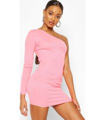 neon rib one shoulder bodycon dress, hot pink