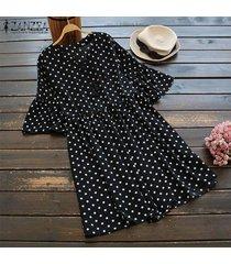 zanzea verano de las mujeres camisa larga vestido túnicas de lunares camisa ocasional tops mini vestido plus -negro
