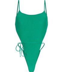 frankies bikinis croft high leg swimsuit - green