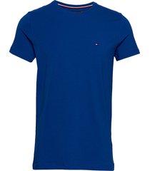 stretch slim fit tee t-shirts short-sleeved blå tommy hilfiger