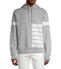 helmut lang men's striped sport hoodie - vapor heather - size xs