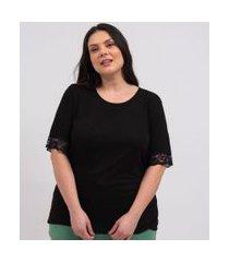 blusa de pijama com renda nas mangas curve & plus size | ashua curve e plus size | preto | g