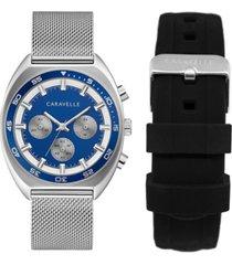 caravelle designed by bulova men's chronograph stainless steel mesh bracelet watch 40mm box set