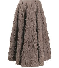 a.n.g.e.l.o. vintage cult 2000s frayed pattern skirt - brown