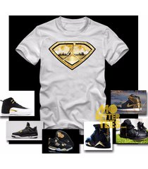 black and gold white t-shirt made to match black and gold jordans custom printed