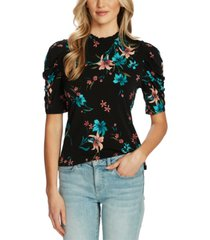 cece floral-print puff-sleeve top