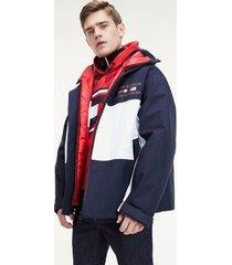 tommy hilfiger men's 3-in-1 ski jacket desert sky navy/red/white - l