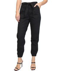 almost famous juniors' high-rise tie-front joggers