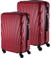 conjunto de mala de viagem em abs fuseco qlink 12 cadeado embutido rodas 360º 2 peças p/m vermelha vermelho